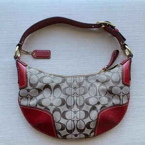 COACH Logo Hobo Brown Jacquard & Red Leather Bag